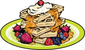 lesion-clipart-39056-clipart-illustration-of-a-stack-of-five-square-waffles-garnished-with-whipped-cream-maple-syrup-and-berries_450