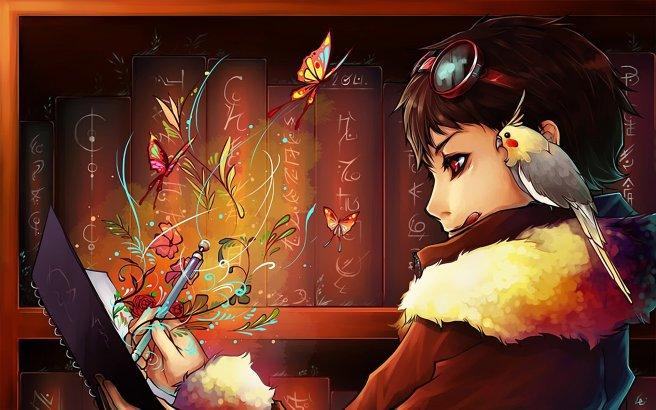 anime-book-writing-girl-wallpaper-walls